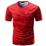Sport Gym Tops Shirt Herren Camouflage Print Rundhalsausschnitt Pullover T-Shirt,Rot,M