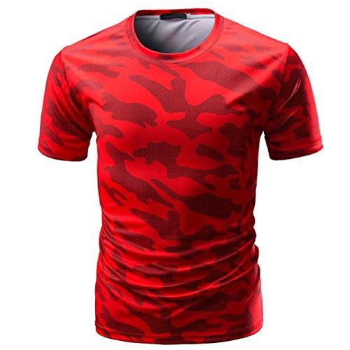 Sport Gym Tops Shirt Herren Camouflage Print Rundhalsausschnitt Pullover T-Shirt,Rot,XL