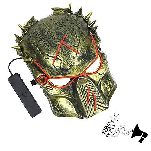 Umiwe Raubtier Cosplay Halloween-Maske, LED-Leuchten gruselig El-Draht leuchten -