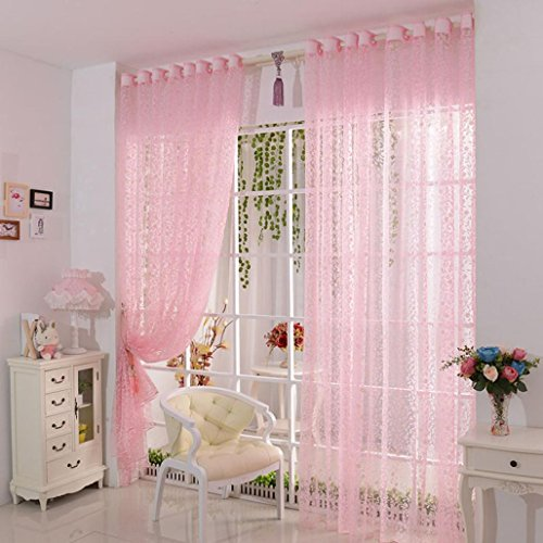 Vorhang DDLBiz Druck-Blumen-Voile-Tür-Vorhang Fenster Paravent Schal Vorhang (Pink)