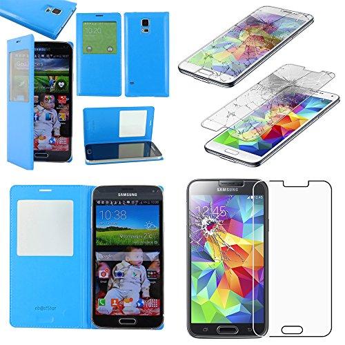 ebestStar - Compatibile Cover Samsung S5 G900F, Galaxy S5 New G903F Neo Custodia Portafoglio Protezione Libro Flip Finestra View, Blu + Pellicola Vetro Temperato [Apparecchio: 142 x72.5 x8.1mm 5.1'']