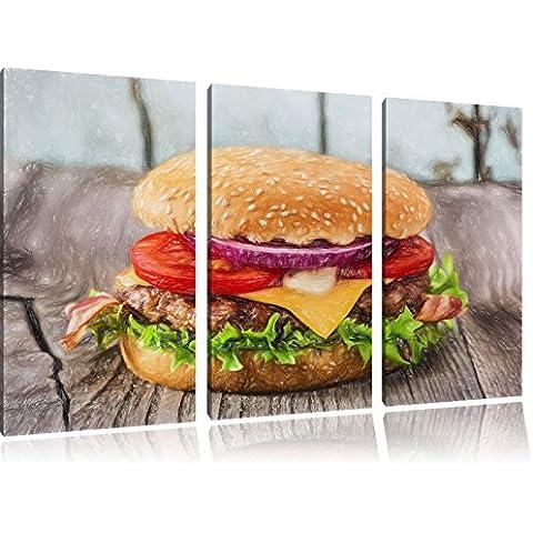 Yummy Cheesburger Bunstift effetto immagine Canvas 3 PC 120x80 immagine sulla tela, XXL enormi immagini completamente Pagina con la barella, stampe d'arte sul murale cornice gänstiger come la pittura o un dipinto ad olio, non un manifesto o un banner,