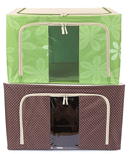Berry Brand New Jumbo Saree/Lehenga/Woolens Storage Box with Steel Frames - Combo Green -Brown Dotted 66L Your Special Clothes