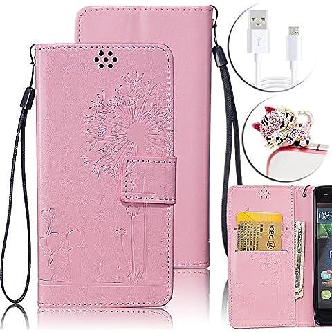 Huawei P9 Lite Custodia in Pelle, Vandot Flip PU Portafoglio Goffratura Stampa Dandelion Amante Sottile TPU Interno Bumper Shell Skin + Cavo USB + Diamanti Gatto Anti-Dust Spina - Pink