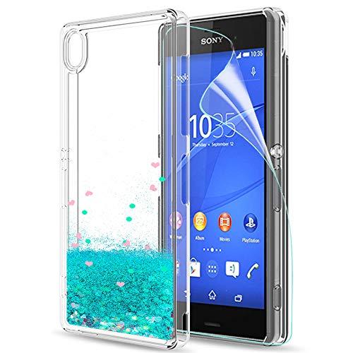LeYi Hülle Sony Xperia Z3 Glitzer Handyhülle mit HD Folie Schutzfolie,Cover TPU Bumper Silikon Flüssigkeit Treibsand Clear Schutzhülle für Case Sony Xperia Z3 Handy Hüllen ZX Turquoise