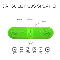 Essot Capsule Plus Bluetooth Speakers Portable wireless surround sound Stereo speaker,High Definition Audio, Built-in Microphone The pill car outdoors speaker(Green)