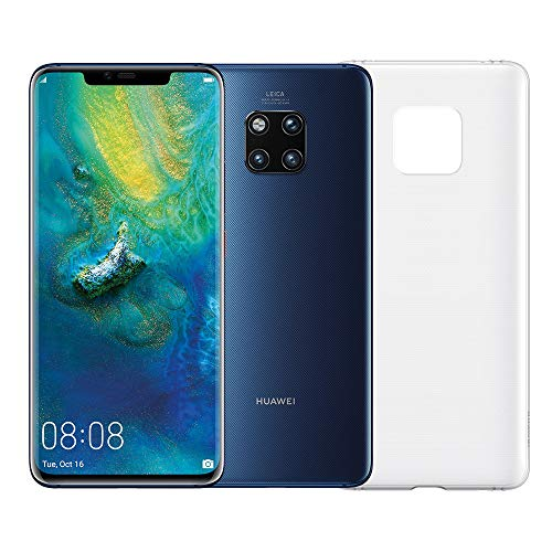"Huawei Mate 20 Pro (blauw) plus originele cover, telefoon met 128 GB, Display Oled 6.39 ""QHD +, Dynamic Octa Core-processor met kunstmatige intelligentie"