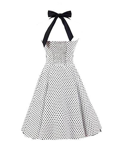 MISSMAO Femme Robe de Bal/Soirée Licou Vintage année 40 50 60 avec des Points Polka Rockabilly Robe Blanc Petit Noir Point