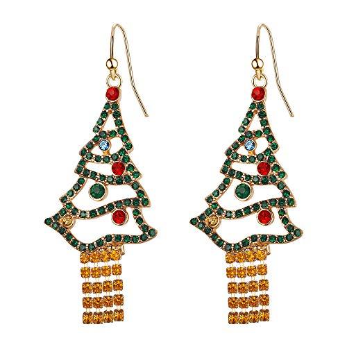 EVER FAITH Weihnachten Ohrringe Kristall Bunte Quaste Haken baumeln Tropfen Weihnachtsbaum für Damen