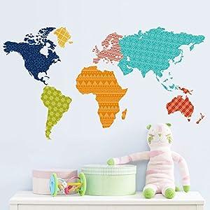 Aibecy Pegatina de pared Mapamundi colorido educativo para decoración de dormitorio / sala de estar / pasillo / oficina