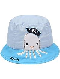 Chapeau Bob de Soleil Bébé Fille Garçon Anti-UV en Coton Imprimé Pieuvre Plage Voyage pour 6-12 Mois Tout de tête 48-20cm
