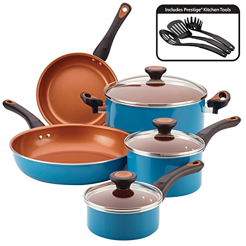 Farberware 10366 Glide Cookware Set, Aluminum, Teal