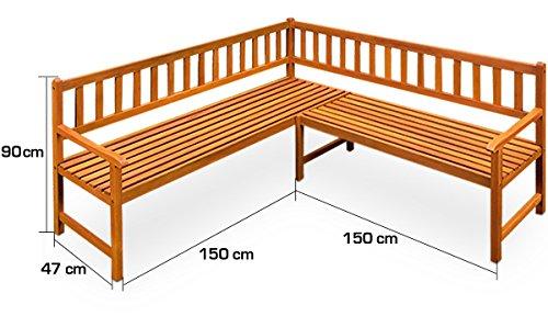 Holz Eckbank Gartenbank Holzbank Sitzbank Bank Gartenmöbel Parkbank Sitzgarnitur ✔FSC®-zertifiziertes Eukalyptusholz ✔ergonomisch ✔witterungsbeständig ✔145 cm x 145 cm x 90 cm - 4