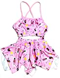 Kids Girls Swim 2 Piece Suit Pink Sun Sea Cartoon Print (Swimming Costume Swimwear & Beach Wear)