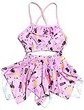 Kids Girls Swim 2 Piece Suit Pink Sun Sea Cartoon Print (Swimming Costume Swimwear & Beach Wear)
