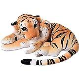 TE-Trend XL Tiger mit Tigerbaby Großkatze Kuscheltier Plüsch 60cm Stofftier braun