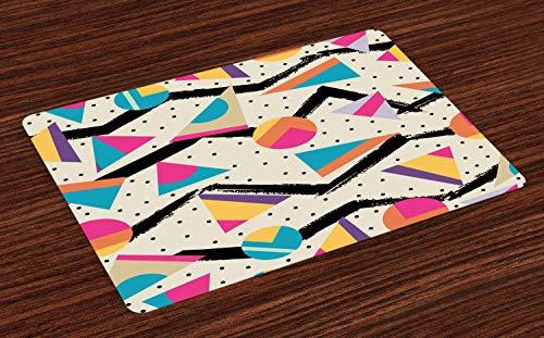 ABAKUHAUS Indie Platzmatten, Achtzigerjahre Memphis-Mode-Art-geometrischer Abstrakter bunter Entwurf mit den Punkten Funky, Tiscjdeco aus Farbfesten Stoff für das Esszimmer und Küch, Mehrfarbig
