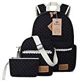 Tela Zaino Casual Scuola Zaini Donna Ragazza Canvas Backpack Zainetto 3 in 1 (Nero)