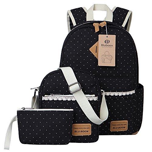 Tela Zaino Casual Scuola Zaini Donna Ragazza Canvas Backpack Zainetto 3 in 1 (Nero)