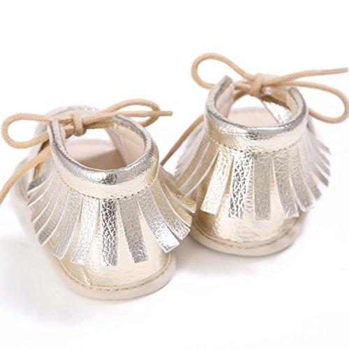 MiyaSudy Babyschuhe Mädchen PU Leder Quaste Sommer Anti-Rutsch Sandalen Schuhe 0-18 Monate Gold