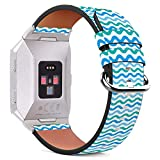 MysticBand Für Fitbit Ionic 44mm / 42mm Armbänder Uhrenarmband Ersatz Lederarmband mit integriertem Armband Adaptors - Aquamarine Blaue Sinus-Welle
