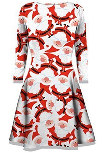 114fb064a62 Womens Mini Dresses Christmas Trees Xmas Santa Snowman Reindeer ...