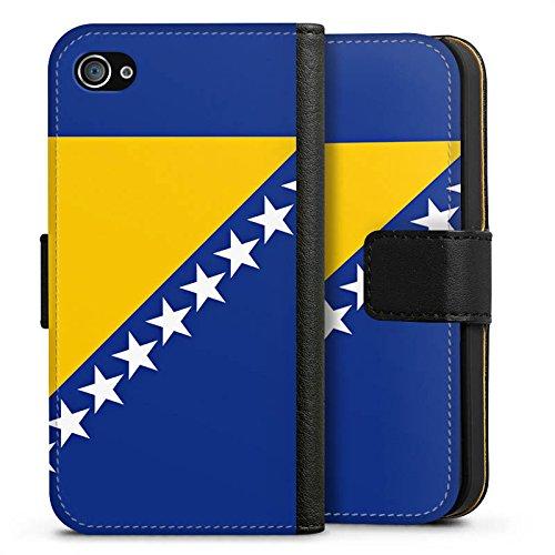 Apple iPhone X Silikon Hülle Case Schutzhülle Bosnien Flagge Fußball Sideflip Tasche schwarz