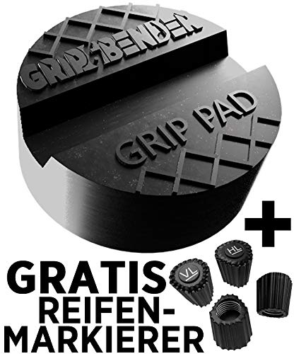 GRIP&BENDER Wagenheber Gummiauflage | GRATIS Ventilmarker-Set | Universal-Auflage für Hebebühnen und Rangierwagenheber | Schützt Ihr Auto