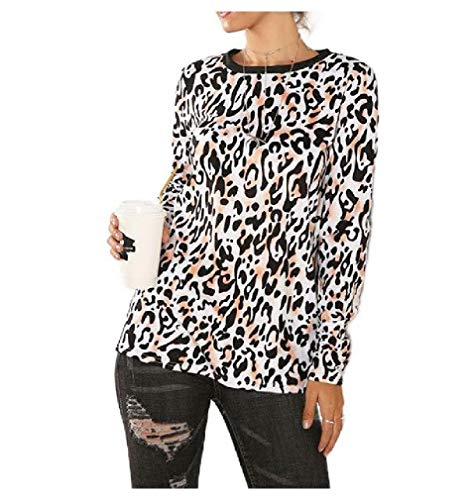 Energy Womens Casual T-Shirt Leopard Print Loose Round Neck Tunic Blouse Top Orange-1 L (Neck T-shirts Loose Womens)