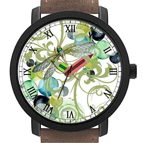 sene   Kinder   Geburtstag   Stilvolle niedliche Armbanduhr mit Bleistift Form Pointer Ornament Geschenk 114.Cute Libelle mit abstrakten Wirbeln & schicken Perlen ()