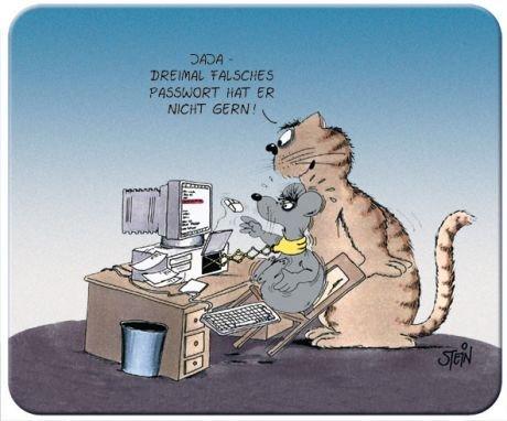 Uli Stein Mousepad Dreimal falsches Passwort