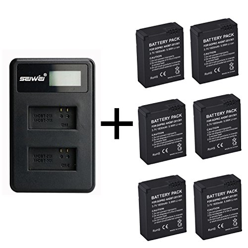 6 Piezas 1600mAh GoPro AHDBT-201/301 Batería