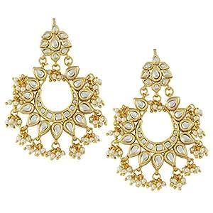Jewellity Kundan Classic Pearl Chandbalis Dangle And Drop Earrings For Women ERK-505