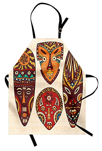 Tiki Bar Schürze, Mask Designs African Aborigine Artwork Patterns Kulturelle ethnische Hawaiian Print, Unisex-Küche Latzschürze mit verstellbarem Hals zum Kochen Backen Gartenarbeit, Multicolor