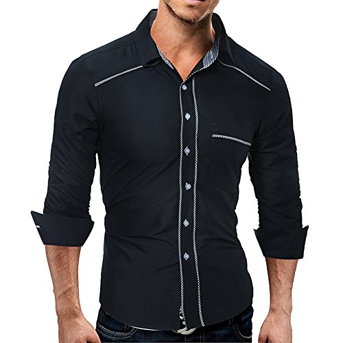 L&KK Herrenmode Button-Up-Shirt Slim Fit Kontrast Langarm-Casual-Button-Down-Hemden Dress Shirts,Black,L (LangÄrmeliges Button-up-shirt)