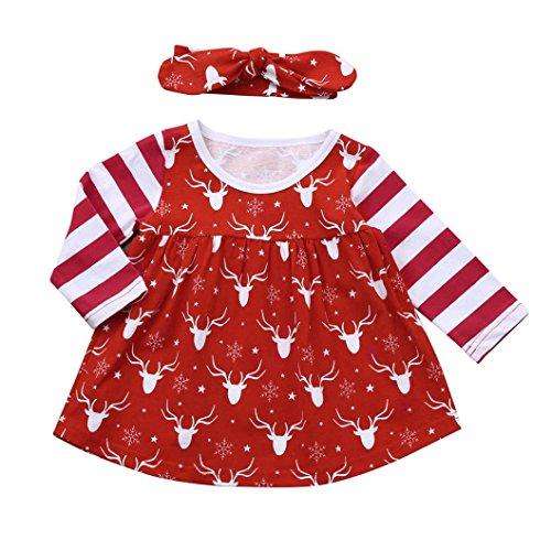 (Neugeborene Weihnachten Kleid Hirolan Babykleidung 2 Stück Prinzessin Kleid + Verrotten Stirnband Säugling Gestreift Lange Ärmel die Röcke Baby Mädchen Hirsch Drucken Kleidung (80, Rot))