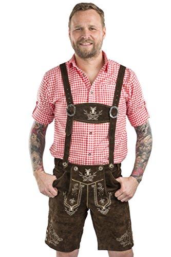 Herren Alpenjäger Trachten Original Wiesn Lederhose kurz Trachtenlederhose braun Trachtenhose Oktoberfest Hose Lederhose (60, dunkelbraun)