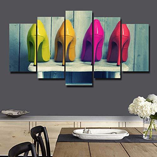 HD scarpe a cinque tacchi moderne a getto d'inchiostro con tacco alto e pittura decorativa fresca a casa-16x24/32/40inch,With frame