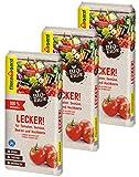 Floragard Bio-Erde Lecker 3x20 Liter - für Tomaten, Gemüse, Beeren und Hochbeete - torffrei und vegan