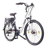 NCM Munich 36V Bicicletta da passeggio elettrica, City E-Bike 28', 250W Motore posteriore Das-Kit, 13Ah 468Wh Batteria Li-Ion, Freni meccanici TEKTRO a disco, cambio SHIMANO, Pneumatici SCHWALBE, Luci anteriori / posteriori, Bianco (28' Bianco)