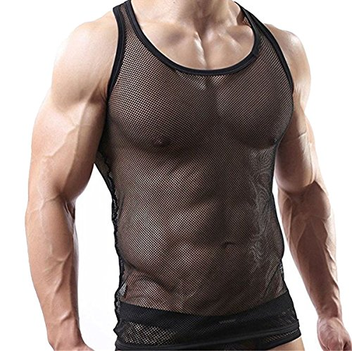 6dfdc646444e6b CHICTRY Herren Shirt Unterhemd Slim Fit Transparent Glatt Gaze T-Shirt Tops  Unterwäsche Reizwäsche Clubwear M L XL Tanktop in Schwarz M