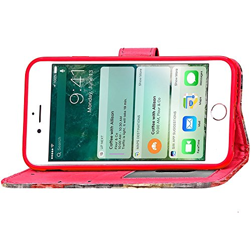 iPhone Case Cover Étui en cuir Wallet mixte Couleur PU Avec Cash Card slot Case Motif arc-en-stand pour Apple IPhone 7 Plus ( Color : Gray , Size : IPhone 7 Plus ) Red