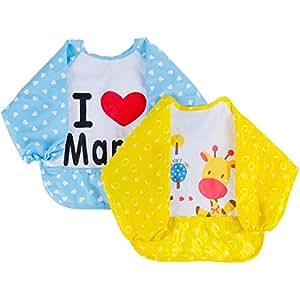 Lictin 2 Pezzi Impermeabile Bambino Bavaglino, Bavaglini Bavaglino con Mniche Baby Bavaglini Bavaglino Gembiule per Bambini Consigliato per Bambini da 6 mesi-3 anni