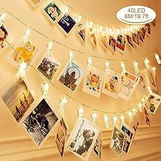 LED Foto Clip Lichterkette, 40 Foto-Clips, Zorara 6 M Lichterketten für zimmer, Lichterkette Batteriebetrieben warmweiß für hängende Bilder, innen, Haus, Weihnachten, Hochzeit