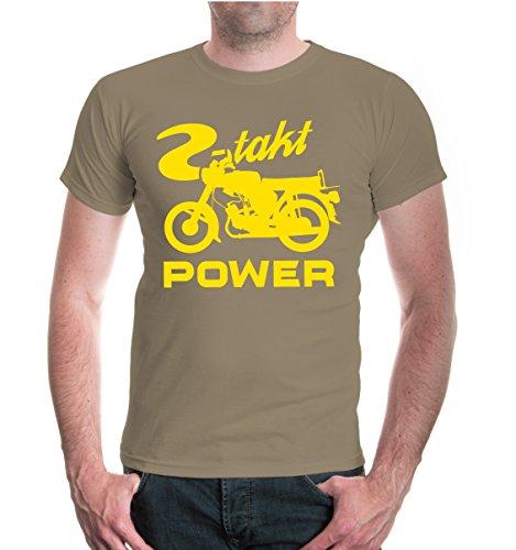 buXsbaum® Herren Unsiex Kurzarm T-Shirt bedruckt 2-Takt Power | Moped Motorrad Nostalgie | M khaki-sunflower Beige (Kurzarm-motorrad)