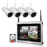 Luowice Überwachungskamera Set Außen Kabellos mit 4 x 960P WLAN WiFi Sicherheitcameras 11' HD 2 Megapixel Monitor Vorinstalliert 1TB Festplatte Videoüberwac für innen außen Bereich