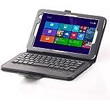 """[SCIMIN] Toshiba Encore 28""""WT8-B32CN Case Cover, Cartera de piel funda con teclado Bluetooth extraíble para tablet Toshiba Encore 2WT8-B32CN 8"""" Windows Tablet (negro)"""