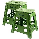 Lantelme 2 St. Set Klapphocker - Hocker aus Kunststoff Farbe grün, Wetterfest für Haushalt, Garten und Camping