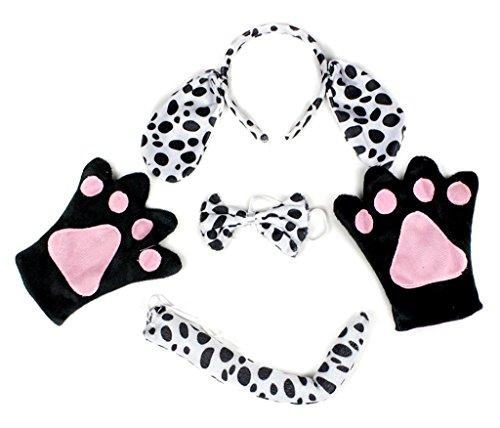 Petitebelle Stirnband Bowtie Schwanz Handschuhe Unisex Adult 4pc Kostüm Einheitsgröße Dalmatiner-Hund