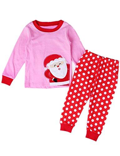 Tkria Bambini Ragazzi a maniche lunghe pigiama di Natale costume di Babbo Natale 0-12 mesi